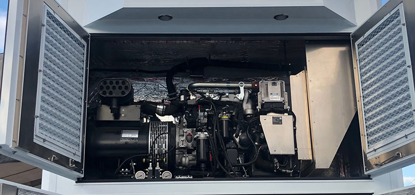 Performer series genset installed in race trailer
