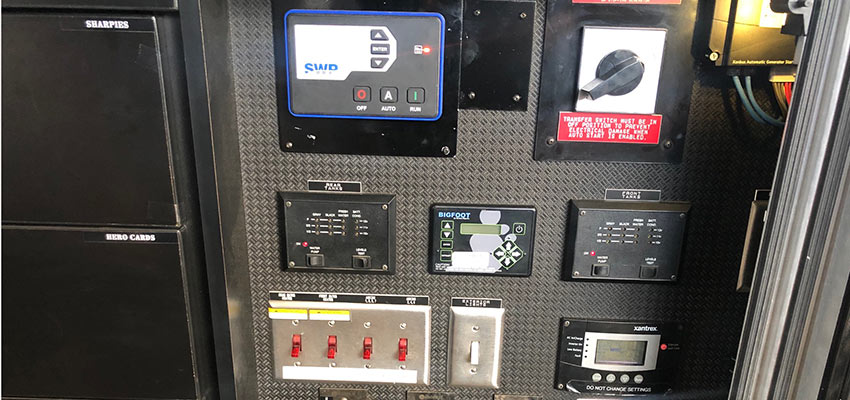 Control panels in speciality race trailer